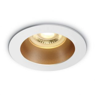 Cove Recessed Fixed Downlight - White with Brass Reflector