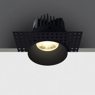 Trimless 7W Warm White LED Fixed Downlight - Black