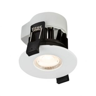 Show 5W Warm White Dimmable LED Fire Rated Fixed Downlight - White