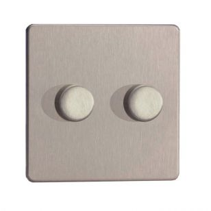 LED Compatible Dimmer 2 x 250W - Brushed Steel