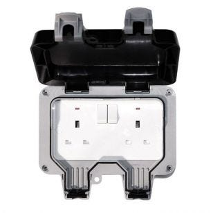 Nexus Storm 2 Gang 13 Amp Switched Socket - IP66