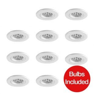 Robus Fire Rated LED Fixed Downlight - White - Pack of 10