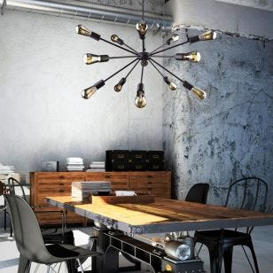 Edit Rod 15 Arm LED Ceiling Pendant Light - Black