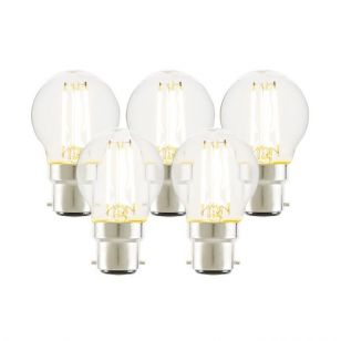 Tagra 4W Warm White Dimmable LED Decorative Filament Golf Ball Bulb - Bayonet Cap - Pack of 5