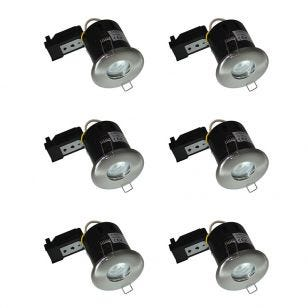 Evolve Fixed Fire Rated IP65 Downlight - Satin Nickel - Pack of 6
