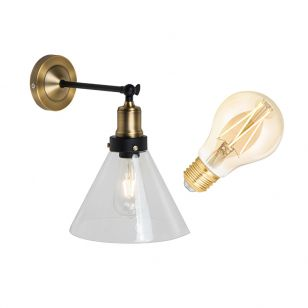 Edit Factory 6.5W Warm White LED Smart WiFi Glass Wall Light - Antique Brass
