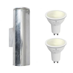 Edit Coastal Pimlico 5.5W Warm White LED Smart WiFi Outdoor Up & Down Wall Light - Galvanised Steel