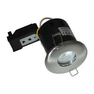 Evolve 5W Warm White Dimmable LED Fire Rated IP65 Fixed Downlight  - Satin Nickel