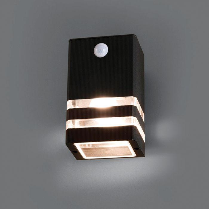 Edit Rio Outdoor Wall Light With Pir Sensor Black Online Lighting