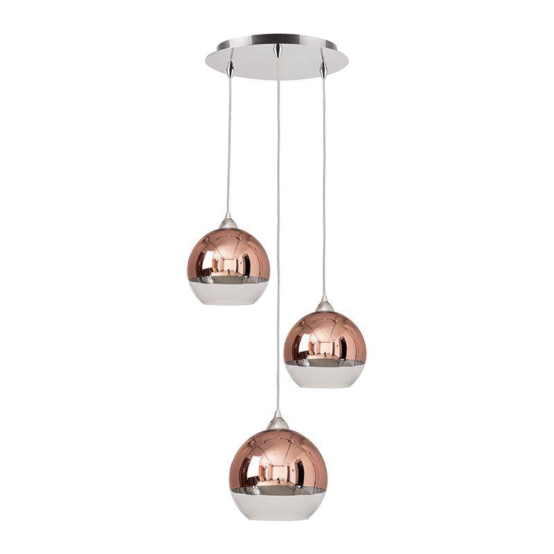 Edit Globe 3 Light Glass Cascade Ceiling Pendant Copper Online Lighting