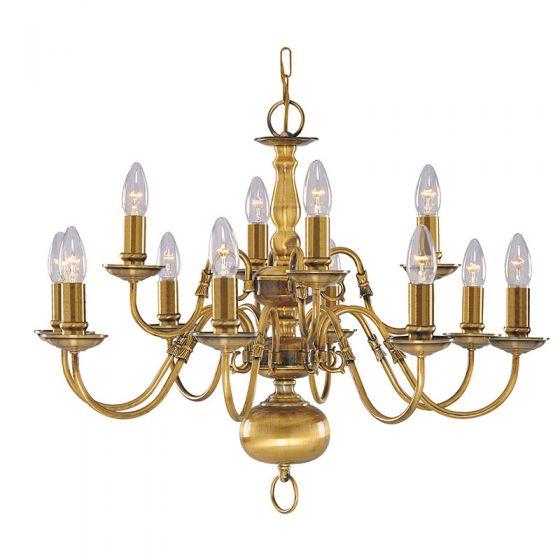 Searchlight Flemish 12 Light Chandelier - Antique Brass