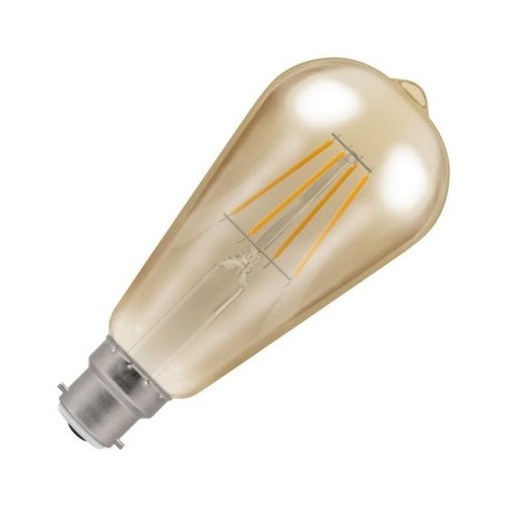 Crompton 5W Very Warm White Dimmable LED Decorative Filament Squirrel Cage Bulb - Bayonet Cap