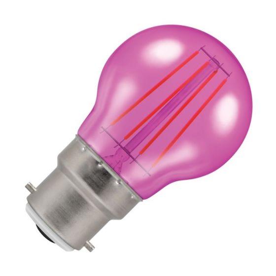 Crompton Harlequin 4W Pink LED Decorative Filament Golf Ball Bulb - Bayonet Cap