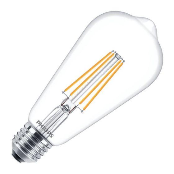 Philips Classic 7W Warm White LED Decorative Filament Squirrel Cage Bulb - Screw Cap