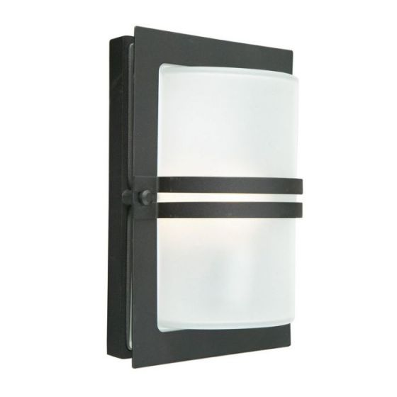 Norlys Basel Outdoor Wall Light - Black with Frosted Glass