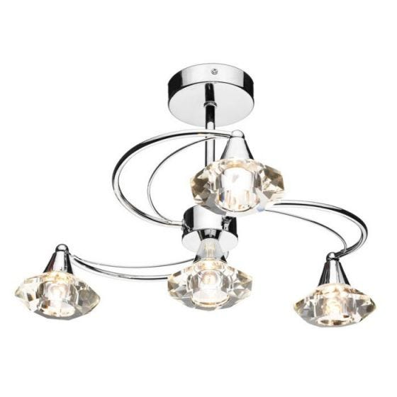 Dar Luther 4 Arm Semi-Flush Ceiling Light - Polished Chrome