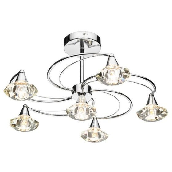 Dar Luther 6 Arm Semi-Flush Ceiling Light - Polished Chrome