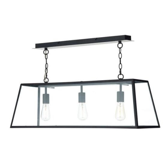 Dar Academy 3 Light Bar Ceiling Pendant - Black