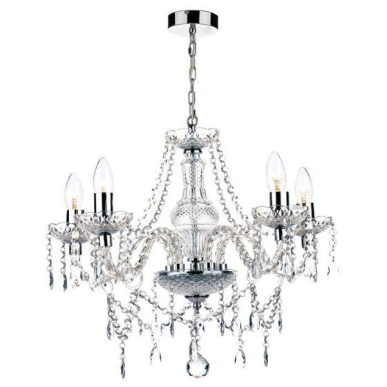 Dar Katie 5 Light Chandelier - Polished Chrome
