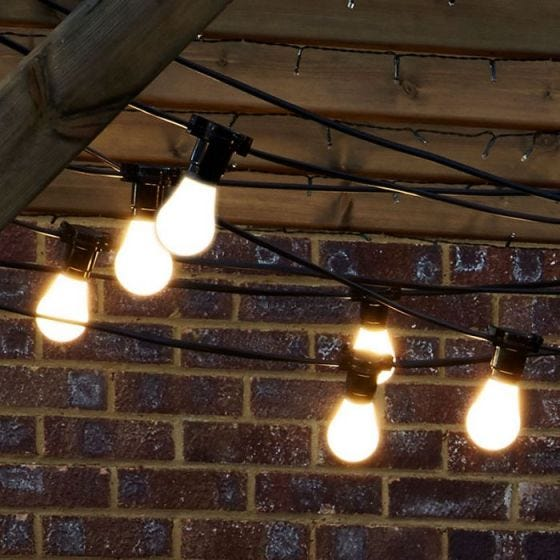102M Weatherproof Festoon Lighting - 100 Black Bulb Holders