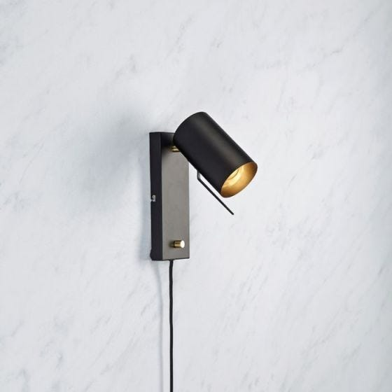 Carrie Reading Light with Plug - Black