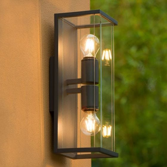 Lucide Claire Half Lantern Outdoor Twin Wall Light - Anthracite