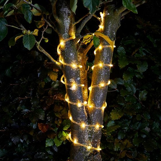 Warm White Solar LED Rope Light - 10 Metre