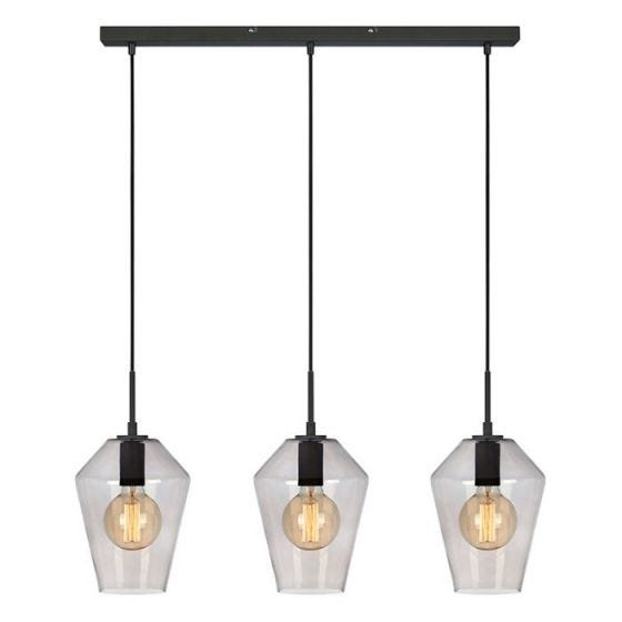 Retro 3 Light Bar Ceiling Pendant - Smokey Black