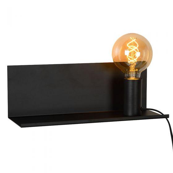 Lucide Sebo Shelf and Wall Light with Plug  - Black