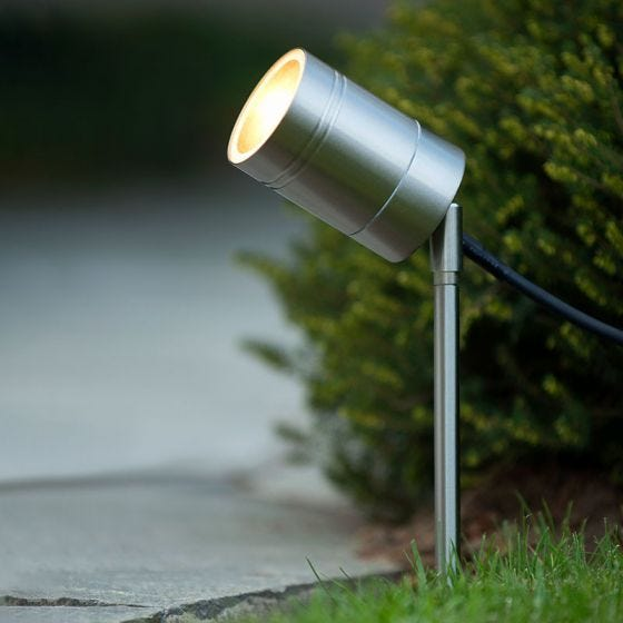 Lucide Arne LED Garden Spotlight - Satin Chrome