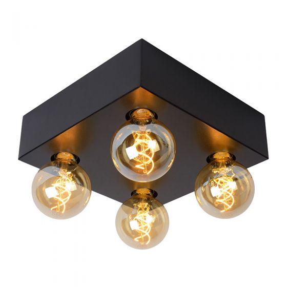 Lucide Surtus 4 Light Flush Ceiling Light - Black