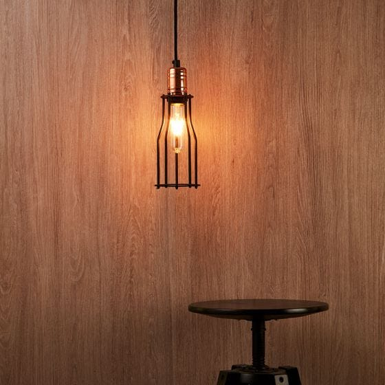 Edit Workshop Slim Ceiling Pendant  Light - Black and Copper