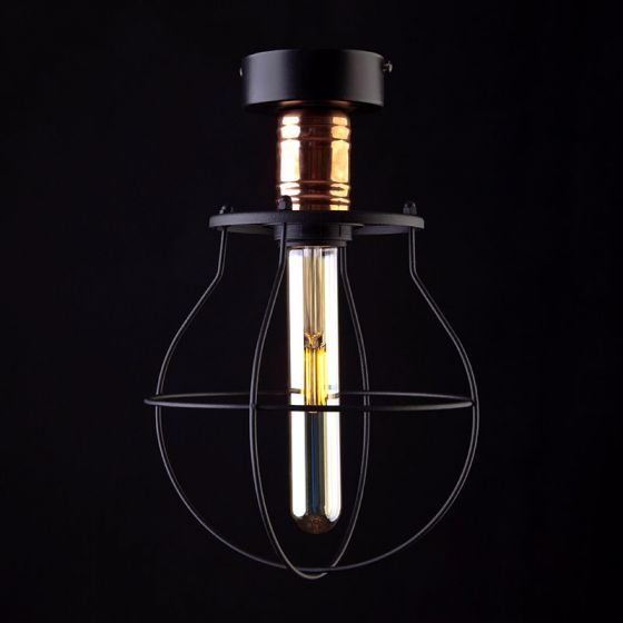 Edit Manufacture Semi-Flush Ceiling Light - Black and Copper