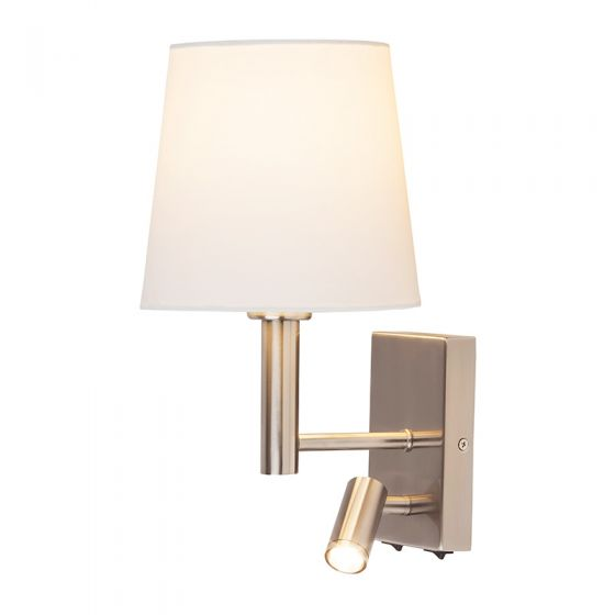 Edit Harvey Wall Light with LED Reading Light - Satin Chrome