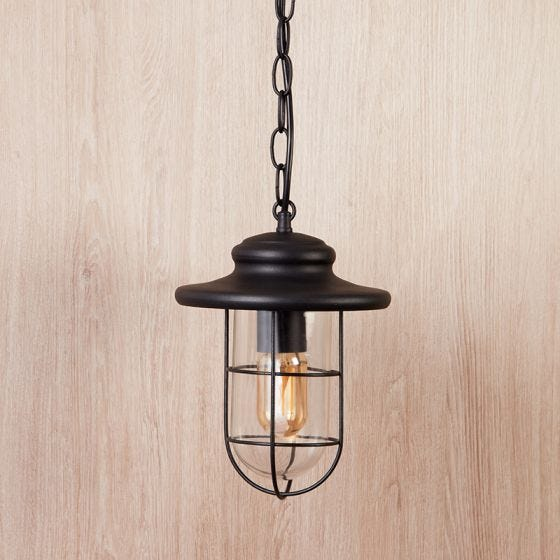 Edit Pavia Pendant Porch Lantern - Matt Black