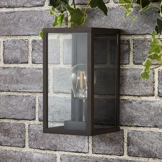 Edit Topeka Half Lantern Outdoor Wall Light - Black