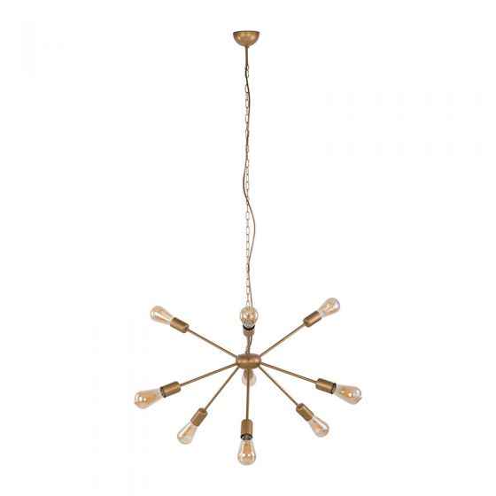 Edit Rod 9 Arm Ceiling Pendant Light -Gold