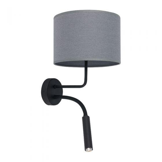 Edit Lodge Wall Light with Reading Light - Black & Grey