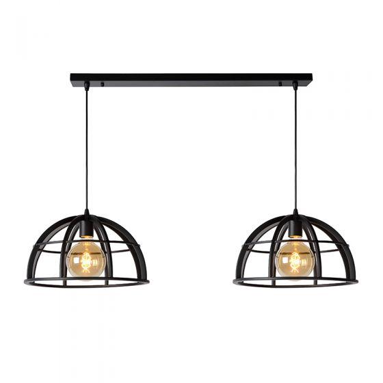 Lucide Dikra 2 Light Bar Ceiling Pendant - Black