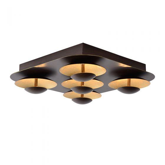 Lucide Amine LED Flush Ceiling Light - Rust Brown