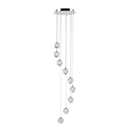Edit Air 9 Light LED Cascade Ceiling Pendant - Chrome