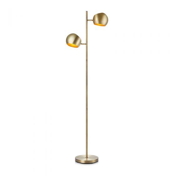 Edgar 2 Light Floor Lamp - Antique Brass