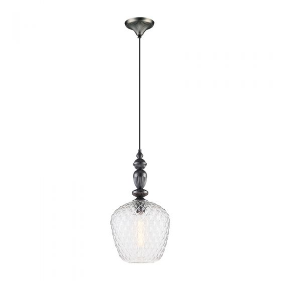 Edit Hirst Large Glass Ceiling Pendant Light - Pewter