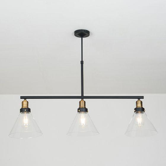 Edit Factory Glass 3 Light Bar Ceiling Pendant - Antique Brass