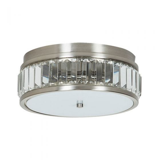 Edit Crystal Flush Ceiling Light - Brushed Nickel