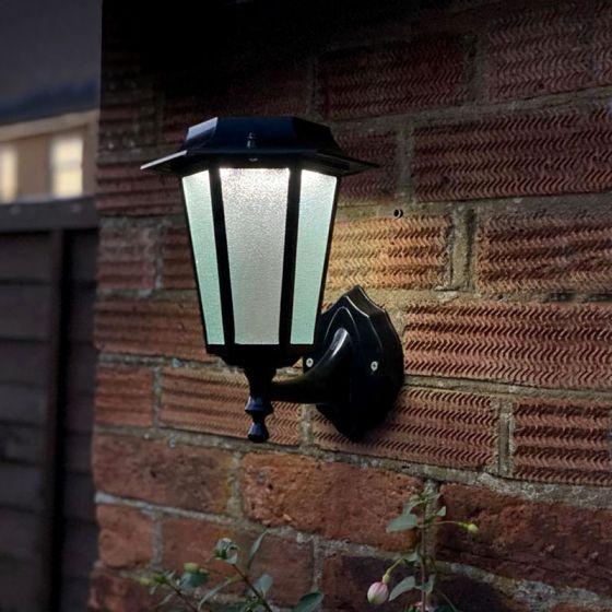 Coach Lantern Solar LED Outdoor Wall Light - Black