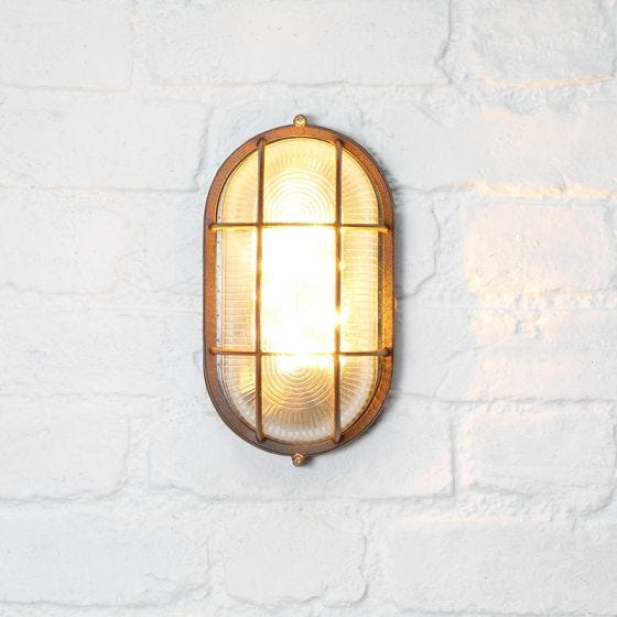 365 Solar LED Oval Flush Wall Light - Rust Brown