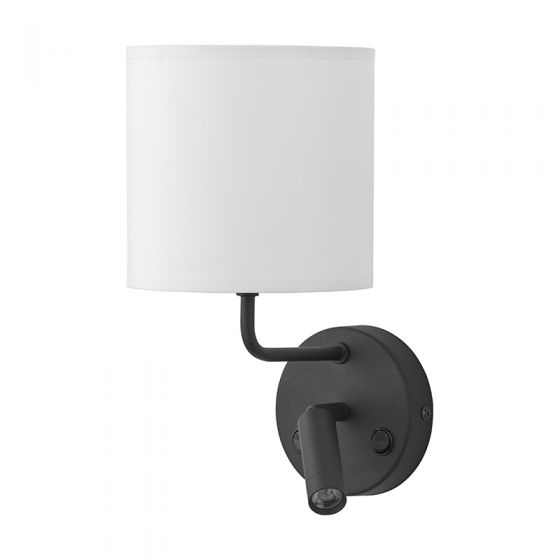 Edit Chalet Wall Light with LED Reading Light - Black & White