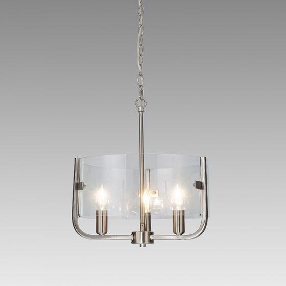 Edit Ivy 3 Arm Glass Ceiling Pendant Light - Satin Nickel
