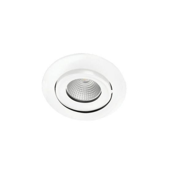 Integral 11W Cool White Dimmable LED Fire Rated Adjustable Downlight - Matt White